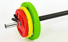 Штанга для фитнеса (фитнес памп)  20кг (гриф l-1,4м, d-28мм, обрезин.блины 2x(1,25+2,5+5кг), фото 2