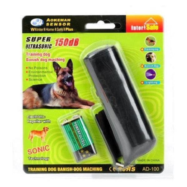 Ультразвуковой портативный отпугиватель собак с фонариком AD-100.