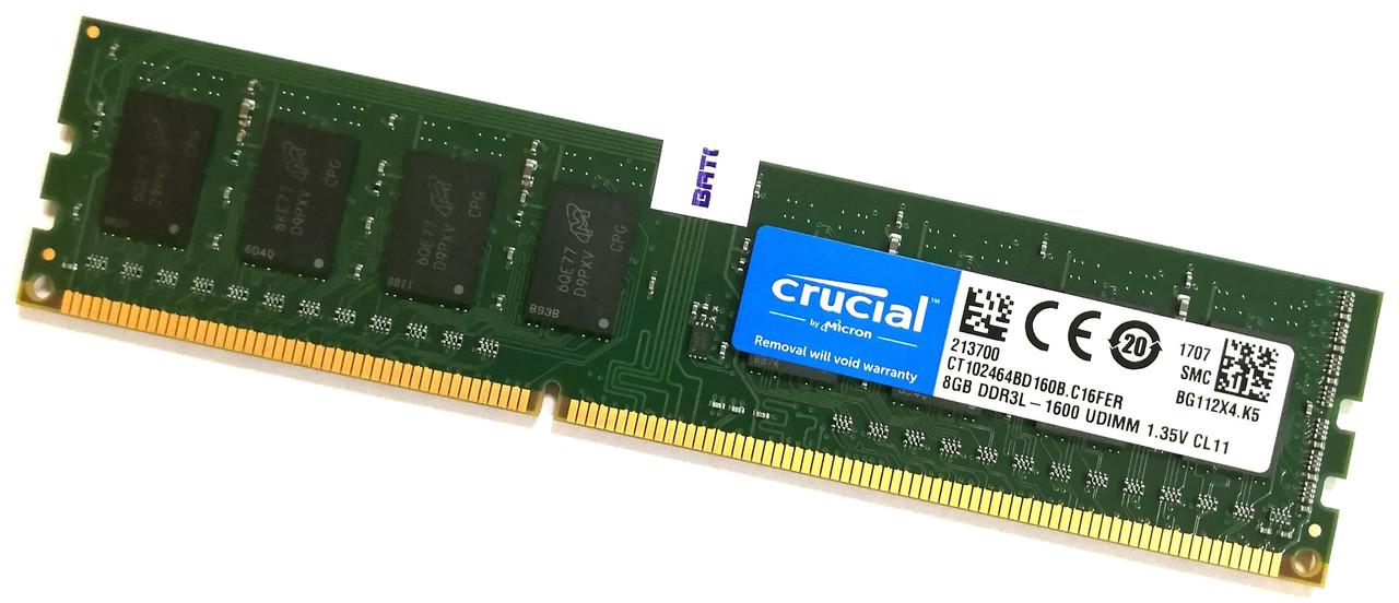 Оперативная память Crucial DDR3L 8Gb 1600MHz PC3L 12800U 2R8 CL11 (CT102464BD160B.C16FER) Б/У