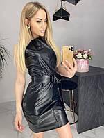Стильное черное платье из эко-кожи
