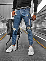 Мужские рваные джинсы с карманом весенние-осенние. Живое фото. Турция люкс качество