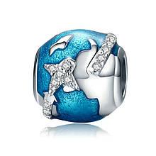 """Шарм """"Вокруг Земли"""" серебро 925 проба, кубический цирконий"""
