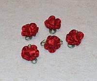 Атласная розочка с листиками  красный  792  поштучно, фото 1