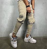 Мужские джинсы карго спортивные штаны бежевые. Живое фото. Люкс качество Турция