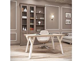 Стол обеденный квадратный Уно-4 каркас белый бархат, столешница ДСП Вествуд 800*800 мм (Металл дизайн)