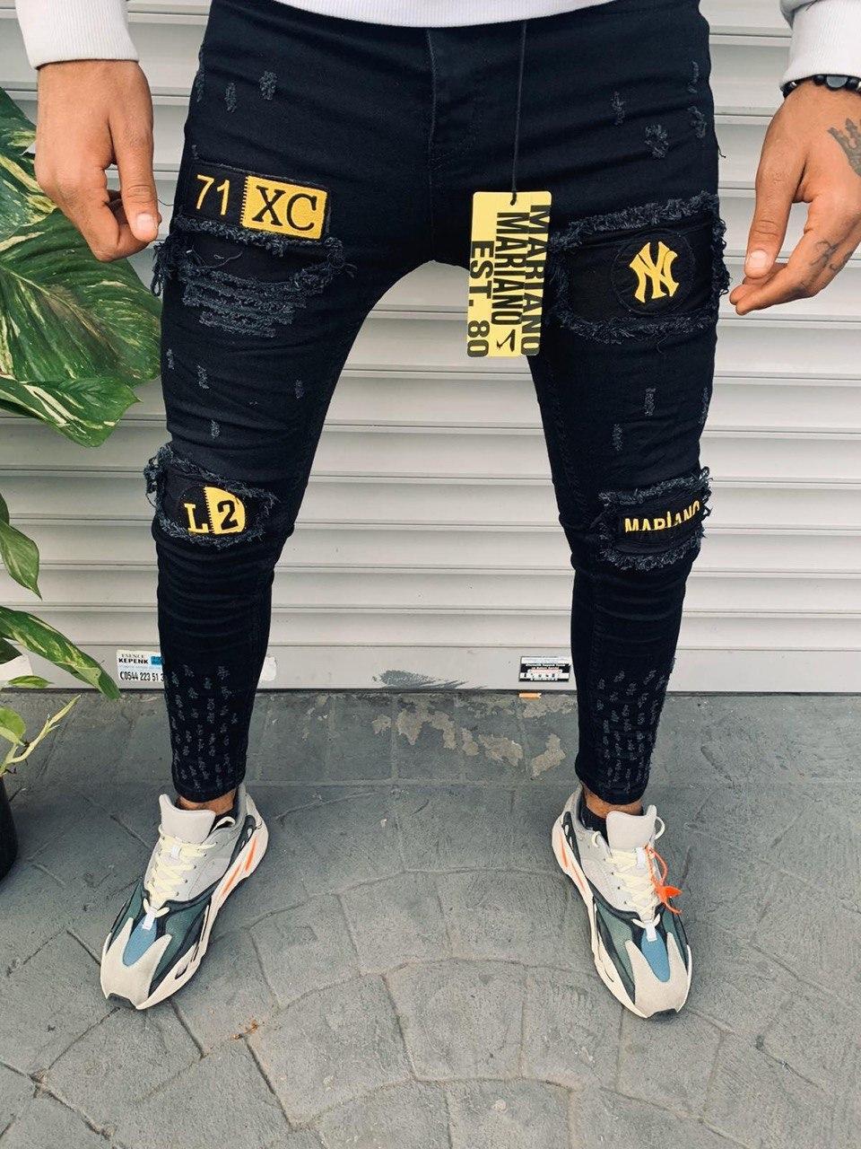 😝 Джинси - Чоловічі джинси (чорні) 71XC