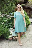 Летнее платье большого размера «Гаяна» (Полынь, пудра, электрик | 48, 50, 52, 54, 56) Полынь, 52