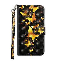 Чехол-книжка Color Book для Motorola One Macro / Moto G8 Play Золотые бабочки