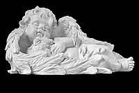 """Скульптура """"Детский ангелочек на памятник с кроликом"""" из искусственного мрамора - 23 см"""
