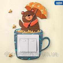 Наклейка в детскую  на стену  (включатель, выключатель, розетку)  Медвежонок H06