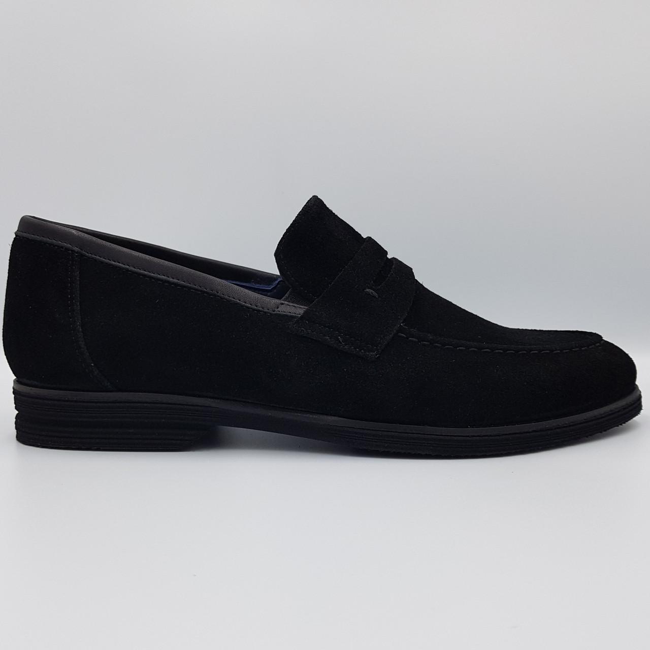 Мужские замшевые туфли лоферы Luciano Bellini черные L0024/24