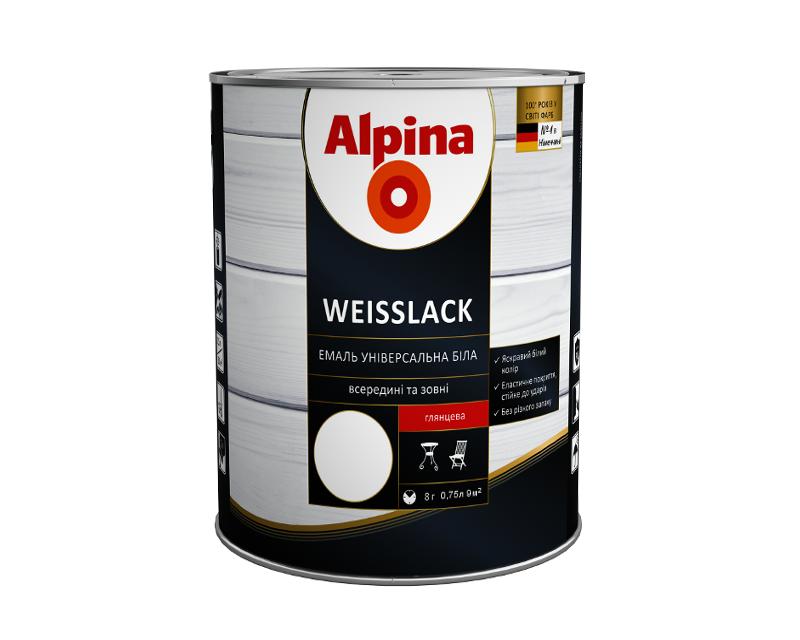 Эмаль алкидная ALPINA WEISSLACK ГЕРМАНИЯ универсальная глянцевая, 0.75л