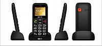 Кнопочный телефон бабушкофон черный с подставкой для зарядки и кнопкой SOS Maxcom MM426 Black