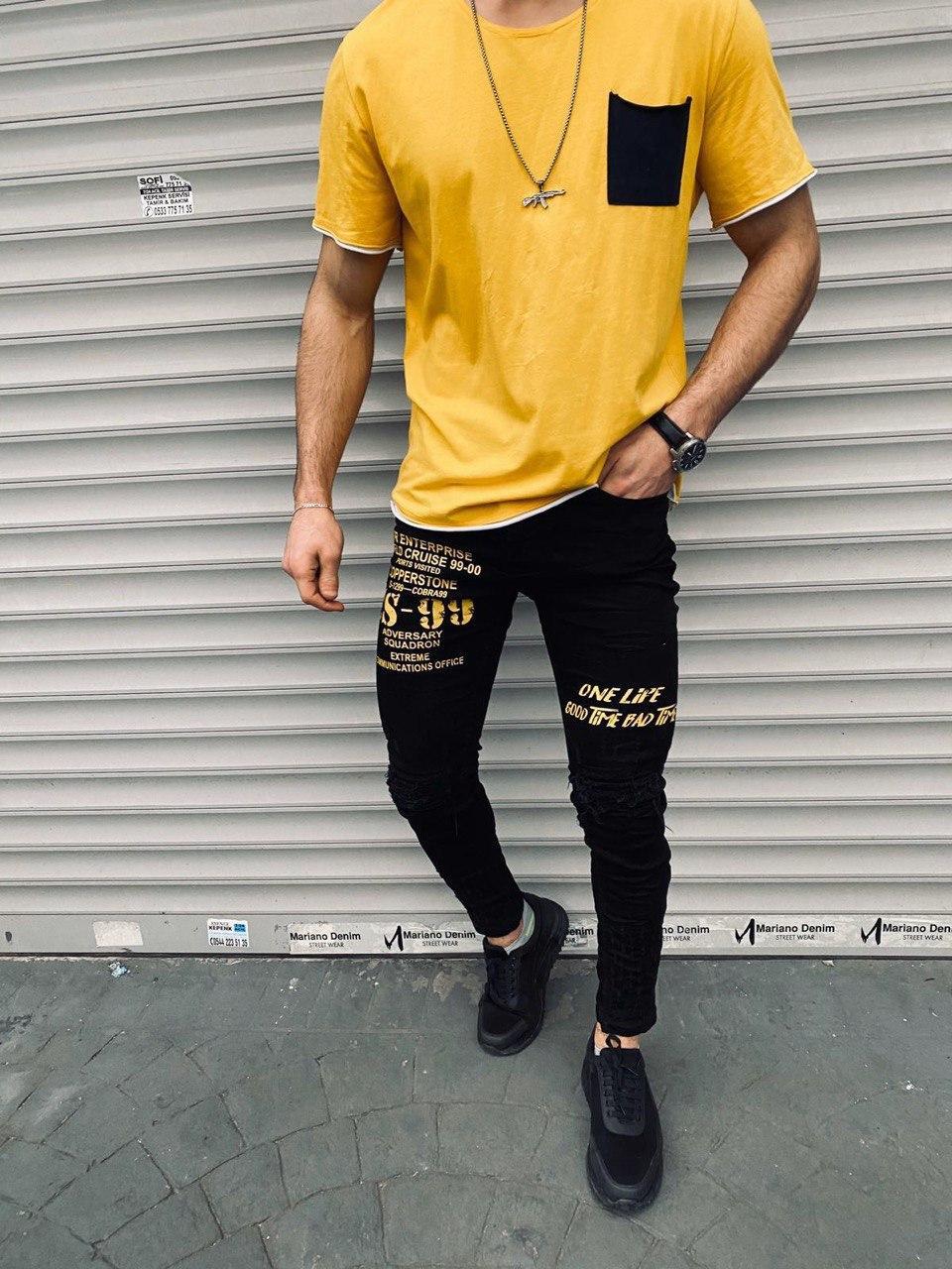 😝 Джинсы - Мужские штаны (черные) с желтой надписью S-99