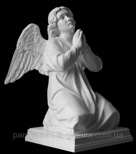 """Скульптура ангела """"Молящийся на коленях"""" из искусственного мрамора - 55 см"""