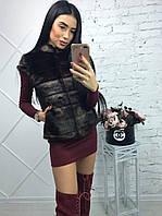Женский жилет из искусственной норки с карманами цвет махагон 39ZH01