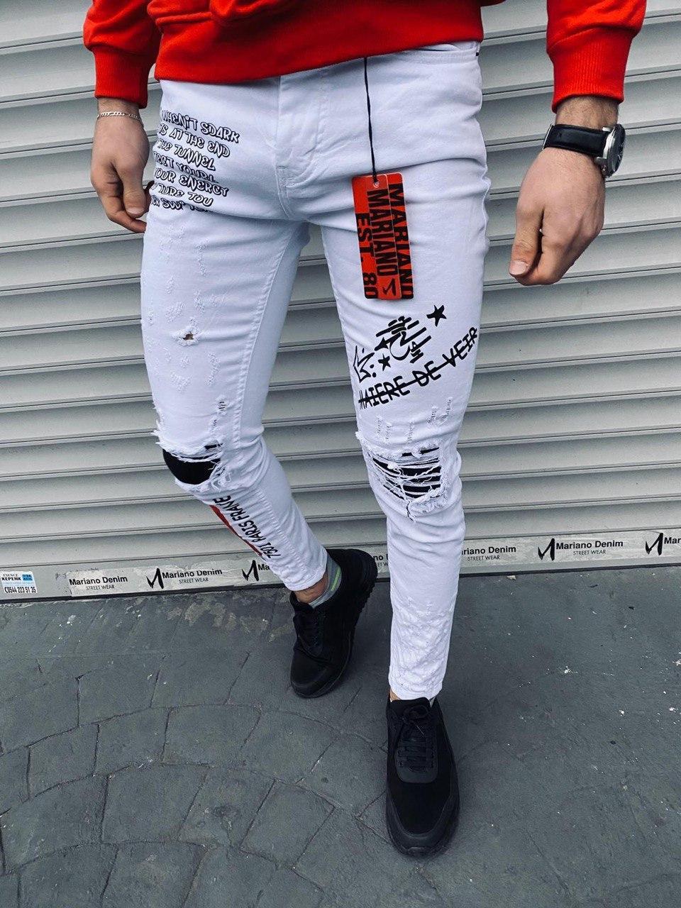 😝 Джинсы - Мужские штаны (белые) с черными  надписями и вставками