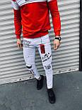 😝 Джинсы - Мужские штаны (белые) с черными  надписями и вставками, фото 3