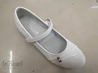 Туфли белые с ремешком и блестящим каблучком LL-5101-2