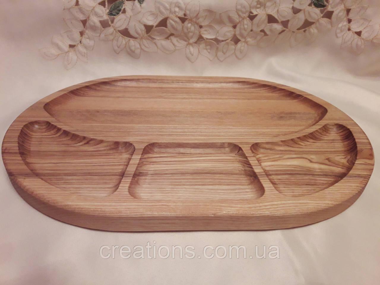 Менажниця дерев'яна 35х25 см. на 4 секції з черешні, ясена
