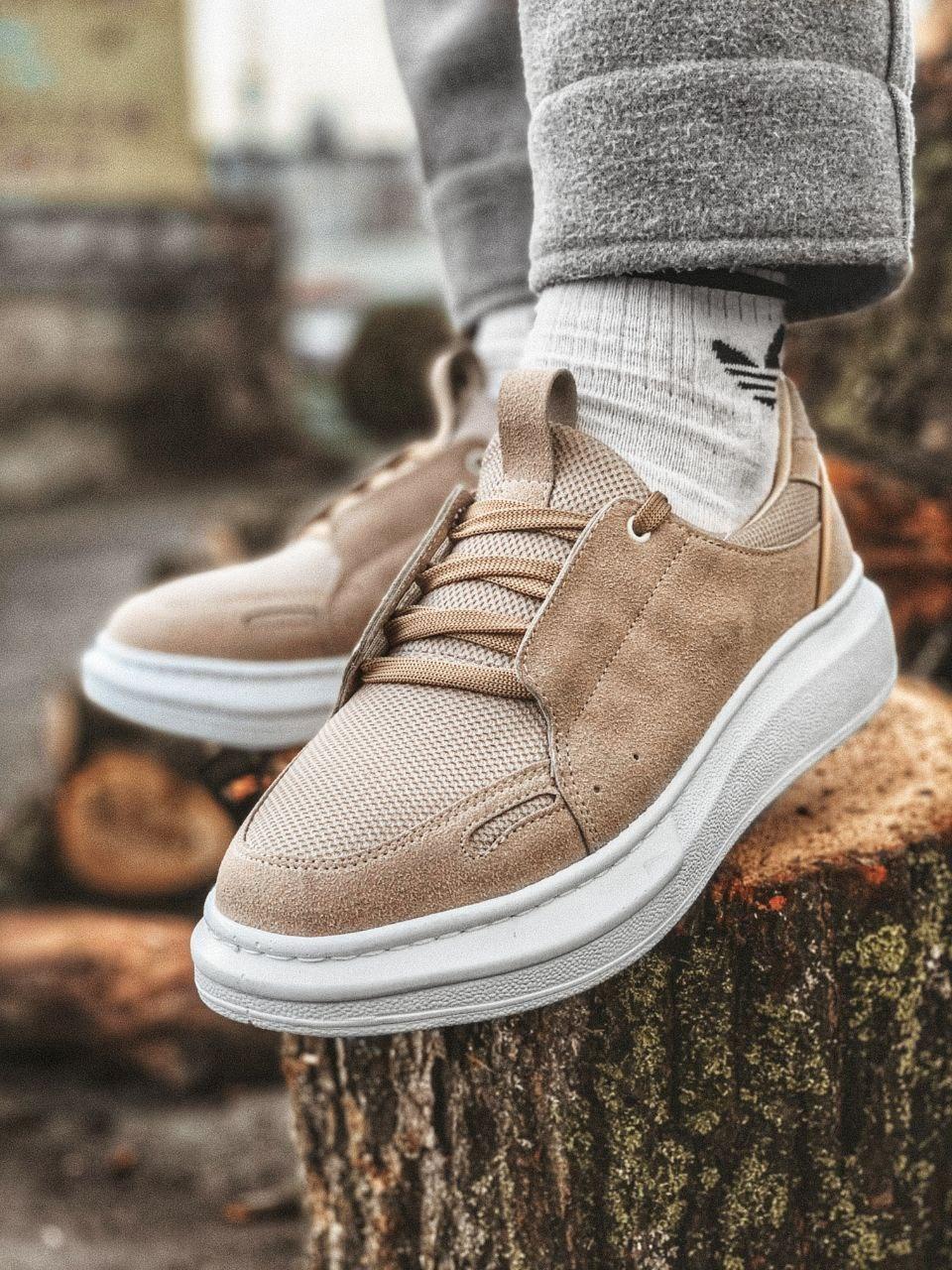 😜Кроссовки - Мужские бежевые кроссовки на шнурках с высокой  белой подошвой
