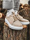 😜Кроссовки - Мужские бежевые кроссовки на шнурках с высокой  белой подошвой, фото 2