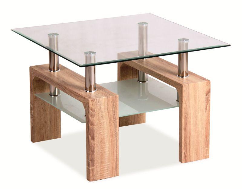 Журнальний стіл hume ca D BASIC квадратний дуб сонома/прозорий (60x60) Signal