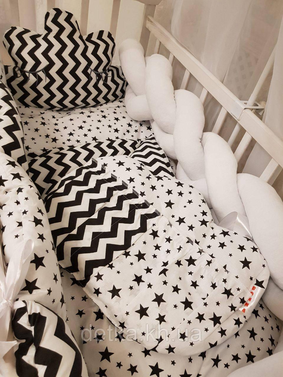 """Комплект постельный """"Koss"""" в детскую кроватку, с бортиками и балдахином"""