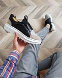 😜Кросівки - Чоловічі кросівки на шнурках з високою білою підошвою, фото 2