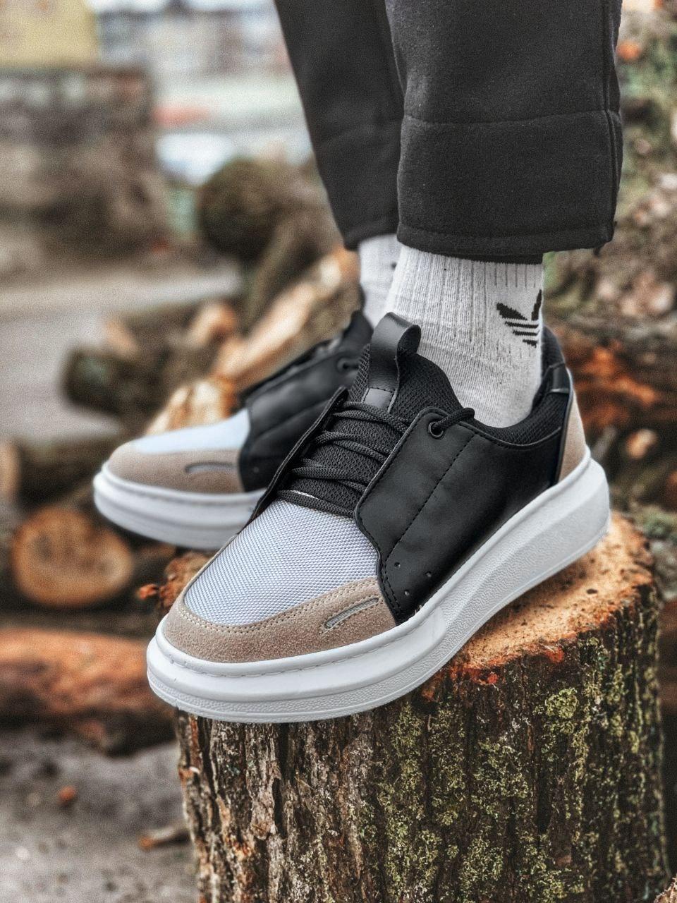 😜Кроссовки - Мужские кроссовки на шнурках с высокой  белой подошвой