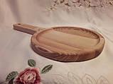 Тарелка деревянная 35х20 см. с декорированной ручкой из черешни, ясеня НМ-44, фото 4