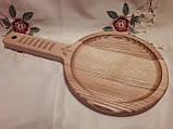 Тарелка деревянная 35х20 см. с декорированной ручкой из черешни, ясеня НМ-44, фото 6
