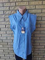 Рубашка женская летняя, безрукавка коттоновая джинсовая больших размеров BENSON, Турция