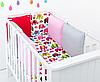 """Комплект постельных принадлежностей в кроватку (9 предм.) """"Кеша"""" (белый/красный/розовый/серый)"""