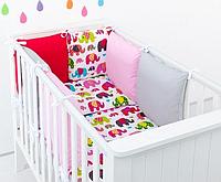 """Комплект постельных принадлежностей в кроватку (9 предм.) """"Кеша"""" (белый/красный/розовый/серый), фото 1"""