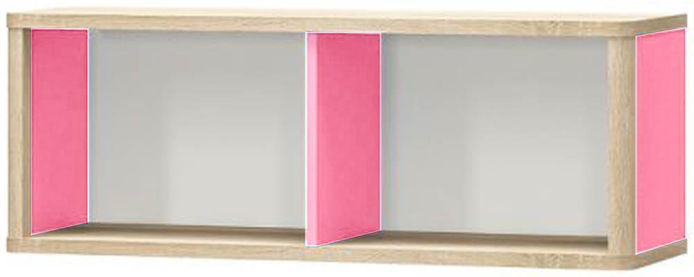 Лео Полка МЕБЕЛЬ СЕРВИС Дуб самоа + Белый + Розовый (101х32х36.8 см)