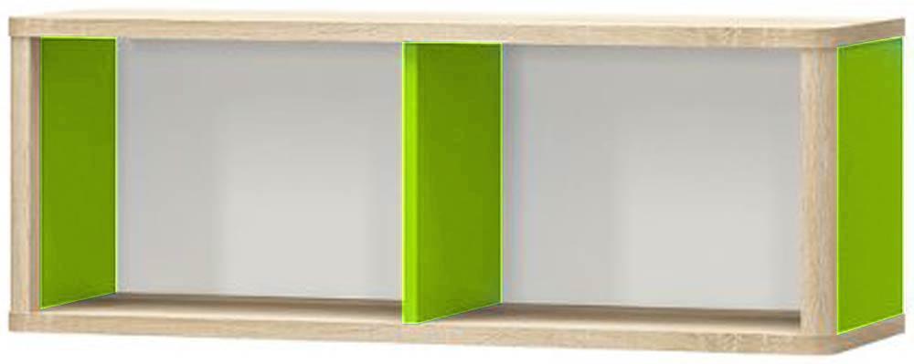 Лео Полка МЕБЕЛЬ СЕРВИС Дуб самоа + Белый + Зеленый (101х32х36.8 см)