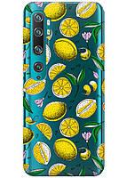 Прозрачный силиконовый чехол iSwag для Xiaomi Mi Note 10 Pro с рисунком - Лимоны H321, КОД: 1398314