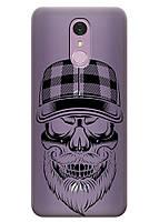 Прозрачный силиконовый чехол iSwag для LG Q7 с рисунком - Бородатый череп H546, КОД: 1398947