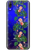 Прозрачный силиконовый чехол iSwag для Blackview A60 с рисунком - Тропические листья H605, КОД: 1429070