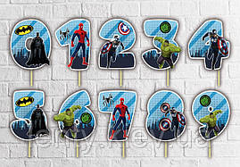 """Топпер-цифра (від 0 до 10см цифра) вирубка """"Супер Герої/Мarvel"""" (1шт )в синьому дизайні"""
