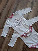 Боді комбідрес білий з написом дитячий бавовняний з довгим рукавом для немовлят Боди детский хлопок девочке