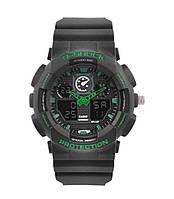 Наручные часы Casio G-Shock ga-100 Green (касио джи-шок черно-зеленые) в коробке Модные спортивные мужские