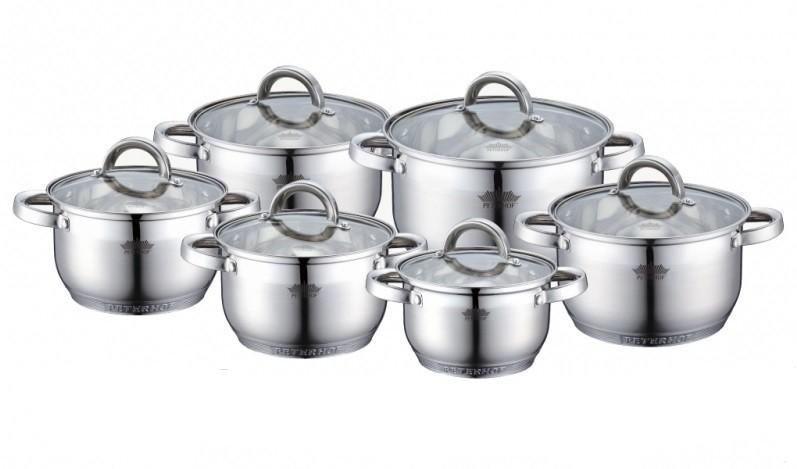 Посуда Peterhof 12частей, 7-ти слойное дно, объем кастрюль 2.1л; 2.9лх2; 3.9лх2; 6.5л, PH15234 S