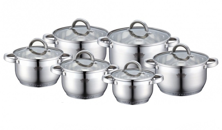 Посуда Peterhof 12частей, 7-ти слойное дно, объем кастрюль 2.1л; 2.9лх2; 3.9лх2; 6.5л, PH15234 S, фото 2