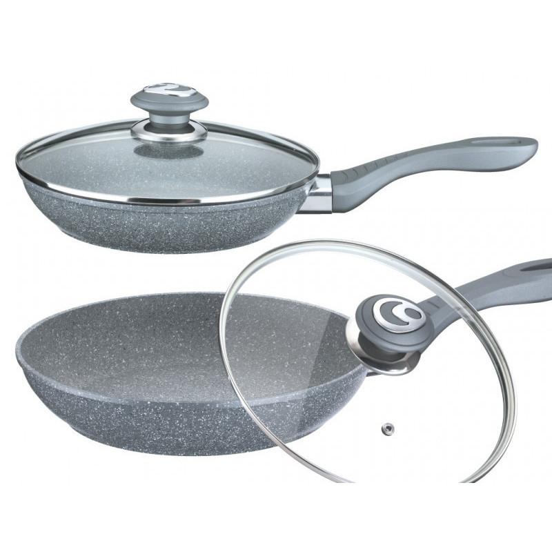 Сковорода литая мраморная серая, диаметр 24см с крышкой и подставкой VISSNER, 7530-24VS