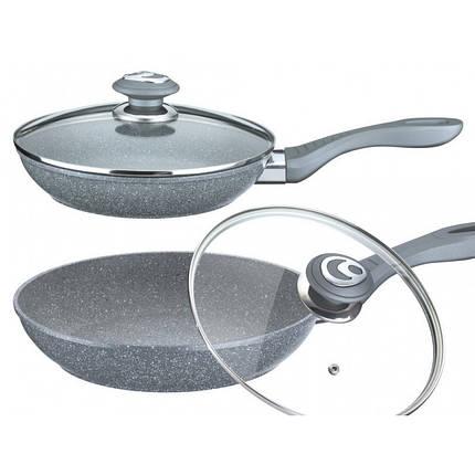 Сковорода лита мармурова сіра, діаметр 24см з кришкою і підставкою VISSNER, 7530-24VS, фото 2