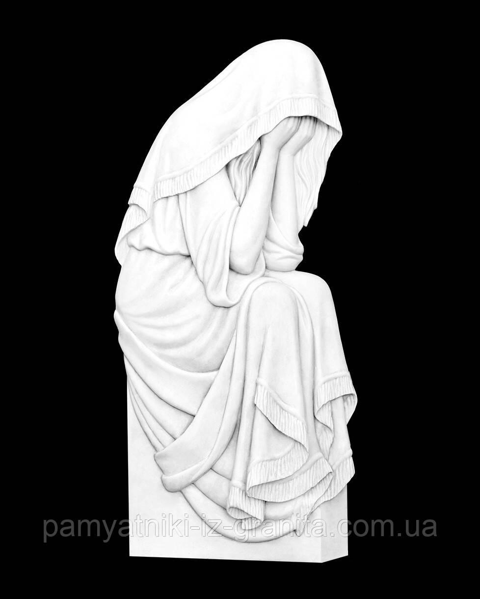 """Барельеф """"Божья Матерь"""" (накладка на памятник) из искусственного мрамора - 80 см"""