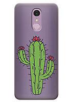 Прозрачный силиконовый чехол iSwag для LG Q7 с рисунком - Тропический кактус H516, КОД: 1398902