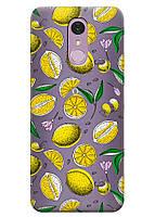 Прозрачный силиконовый чехол iSwag для LG Q7 с рисунком - Лимоны H519, КОД: 1398925